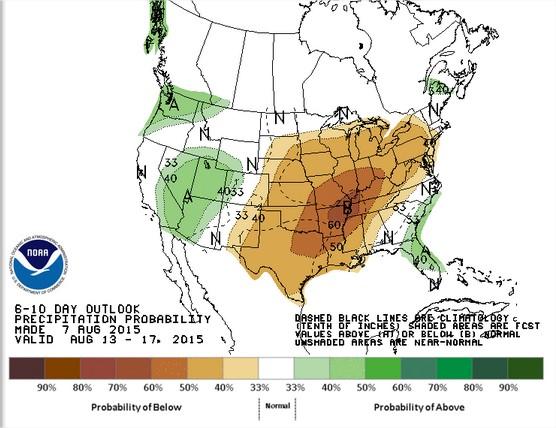 Previsão de chuvas nos EUA de 13 a 17 de agosto - Fonte: NOAA