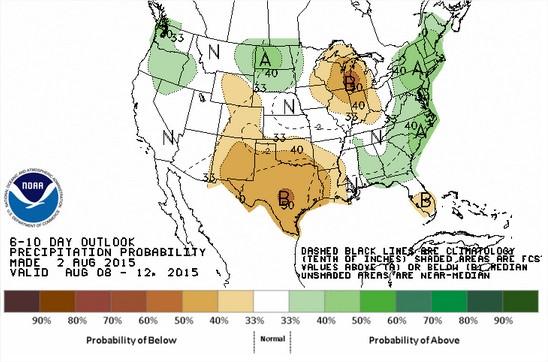 Projeção das Chuvas para 8 a 12 de agosto nos EUA - Fonte: NOAA