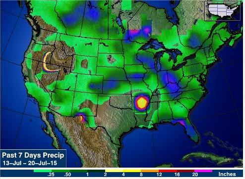 Chuvas nos últimos 7 dias nos EUA - Fonte: AgWeb
