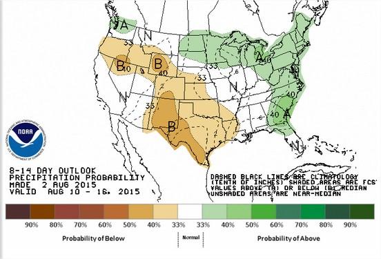 Projeção das Chuvas para 10 a 16 de agosto nos EUA - Fonte: NOAA