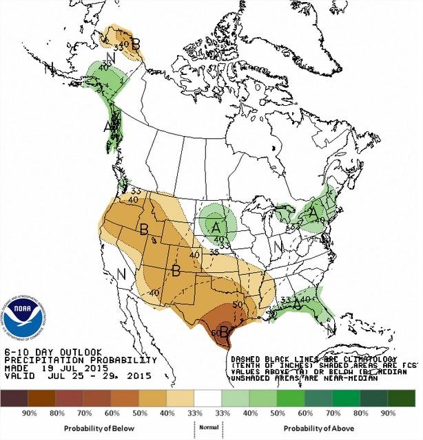 Chuvas nos EUA entre os dias 25 a 29 de julho - Fonte: NOAA