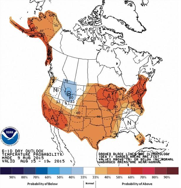 Temperaturas nos EUA entre os dias 15 a 19 de agosto - Fonte: NOAA
