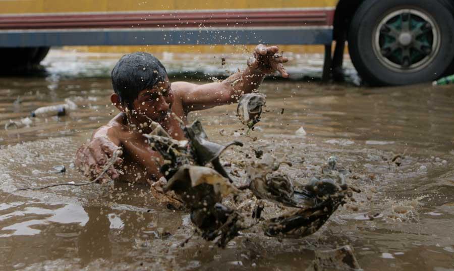 Maracaibo, Venezuela, 19/09/2015. Arboles caidos y varias zonas sin servicio electrico es la principal afectacion que reportaron los servicios de emergencia del Zulia tras el aguacero y vientos huracanados que azoto a varios municipios.  Pasadas las 3.00 de la madrugada, empezo a llover sobre varios municipios de la costa oriental y occidental del Lago de Maracaibo, precipitacion que estuvo acompanada por vientos huracanados e intensas descargas electricas. En la foto: El centro de Maracaibo fue afectado por el aguacero.