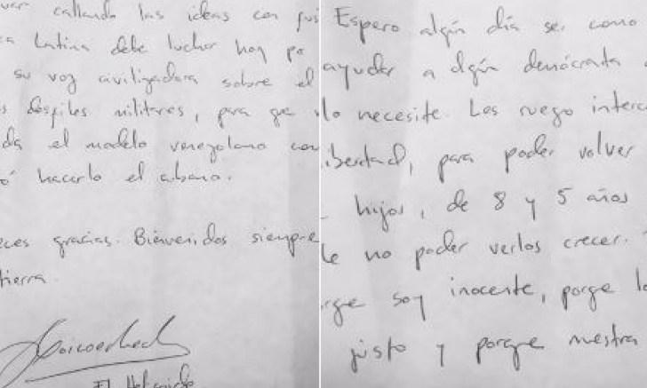 yon goicoechea envía nota manuscrita a expresidentes