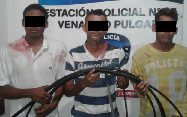 sujetos arrestados por robo de cables de Cantv