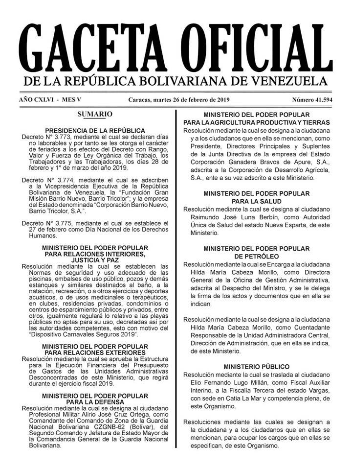 Gaceta-oficial-asueto-carnaval-2019