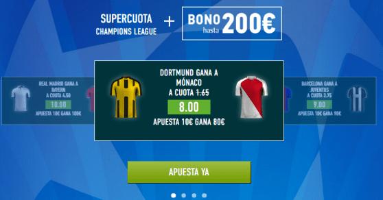 Supercuota Sportium Champions Dortmund Monaco