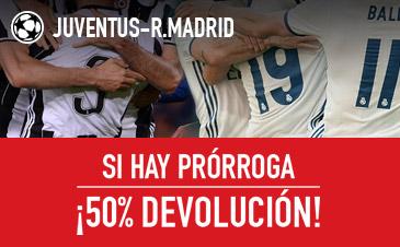 Sportium Champions League Juventus Real Madrid si hay prórroga 50% devolucion