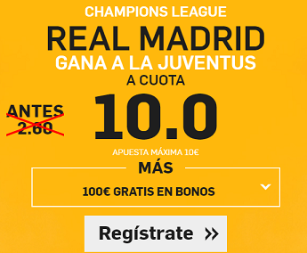 Supercuota Betfair Real Madrid gana a Juventus
