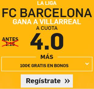 Supercuota Betfair la liga Barcelona Villarreal