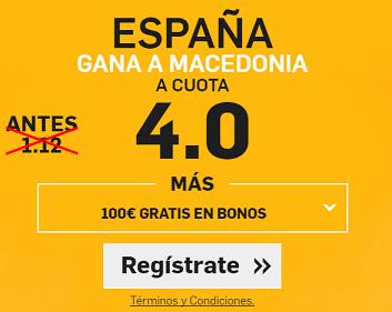 Supercuota Betfair España gana a Macedonia