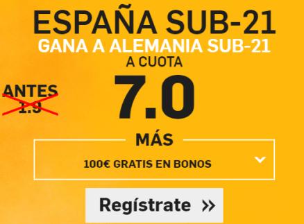 Supercuota Betfair España sub21 - Alemania Sub21