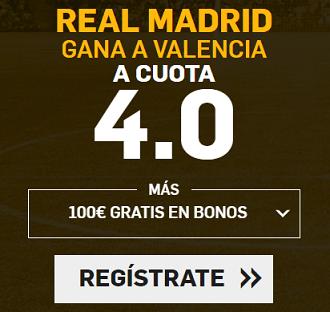 Supercuota Betfair la Liga Real Madrid gana a Valencia cuota 4.0