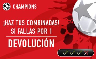 Sportium Champions si fallas una combinada por 1 resultado devolucion