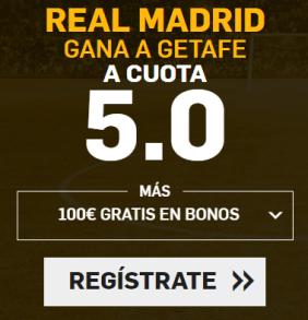 Supercuota Betfair la Liga - Real Madrid gana a getafe cuota 5.0