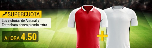 Supercuota Bwin Premier - Arsenal y Totetnham ganan cuota 4.50