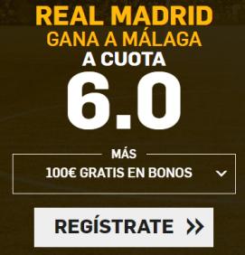 Supercuota Betfair la Liga - Real Madrid gana Malaga cuota 6.0