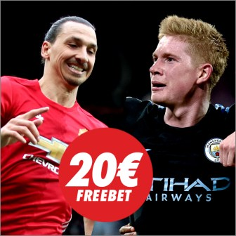 Circus Manchester United - Manchester City 20€ freebet