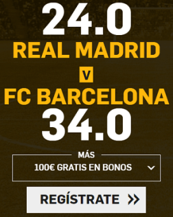 Supercuota Betfair Clasico R. Madrid - Barcelona