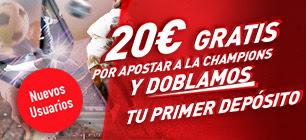 noticias apuestas Sportium Oferta Nuevos Usuarios: Doblamos tu 1er depósito ¡+20€ Gratis con la Champions!