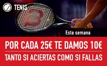 Noticias apuestas Sportium Tenis Por cada 25€ te damos 10€ si aciertas o fallas