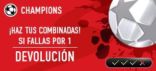 Noticias apuestas Sportium Champions Combinadas si fallas por 1 devolucion!