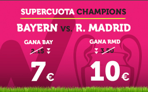 Supercuota Wanabet Champions: Bayern cuota 7 vs R. Madrid a cuota 10