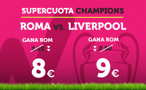 noticias apuestas Supercuota Wanabet Champions League Roma vs Liverpool
