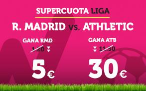 Noticias Apuestas Supercuota Wanabet la Liga: Real Madrid cuota 5 vs Athletic cuota 30