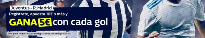 Noticias Apuestas William hill Champions Juventus - R. Madrid gana 5€ con cada gol