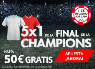 noticias apuestas Suertia Final Champions 5x1 hasta 50€ gratis