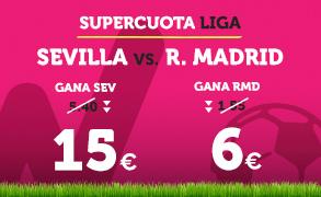 noticias apuestas Supercuota Wanabet la Liga: Sevilla cuota 15 vs R. Madrid a cuota 6