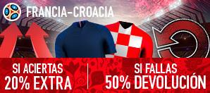 noticias apuestas Sportium Francia - Croacia 20% extra si aciertas 50% devolucion si fallas