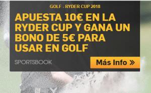 Apuesta 10€ en la Ryder cup y llebate un bono de 5€ para usar en golf en Betfair