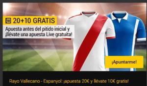 Rayo Vallecano - Espanyol: ¡apuesta 20€ y llévate 10€ gratis! con Bwin