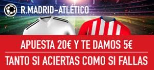 R.Madrid-Atletico apuesta 20€ y te damos 5€ tanto si fallas o aciertas en Sportium