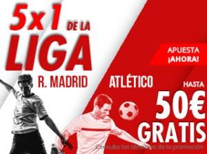 5 por 1 en la liga R.Madrid-Atletico hasta 50€ gratis con Suertia