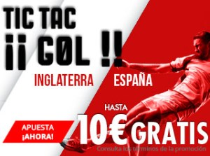 Tic-tac gol Inglaterra v España hasta 10€ gratis en Suertia