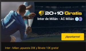 20+10 gratis Inter de Milan-AC Milan en Bwin