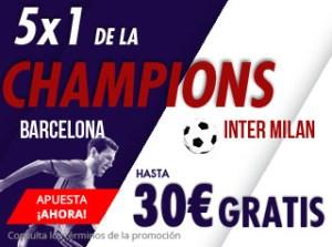 5 por 1 Champions Barcelona-Inter en suertia