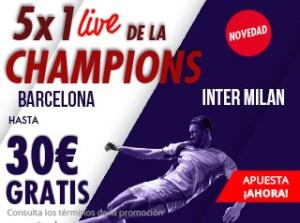 5 por 1 live Champions Barcelona-Inter en Suertia