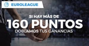 Euroleague basket si hay mas de 160 puntos doblamos tus ganancias en Paston