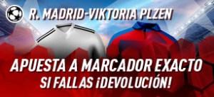 R.Madrid-Viktoria Plzen apuesta a marcador exacto,si fallas devolucion en Sportium