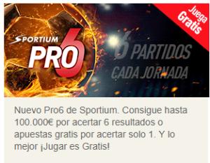 Sportium pro6 juega gratis,puedes llevarte hasta 100.000€ con Sportium