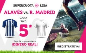 Megacuota 5 a la victoria del Madrid contra el Alaves en Wanabet