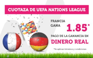 Cuotaza Uefa Nations League Francia gana 1.85 en Wanabet