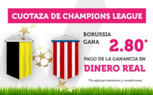 Cuotaza Champions League 2.80 Borussia gana en Wanabet