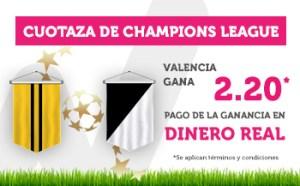 Cuotaza Champions Valencia gana 2.20 en Wanabet
