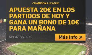 Champions League apuesta 20€ y gana un bono de 10€ para los partidos de mañana en Betfair