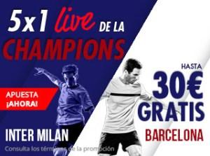 5 por 1 live Champions Inter-Barcelona en Suertia